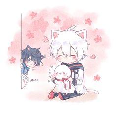 Soraru and Mafumafu Anime Neko, Cute Anime Chibi, Cute Anime Pics, Cute Anime Boy, Anime Kawaii, Neko Boy, Chibi Boy, Anime Child, Anime Art Girl