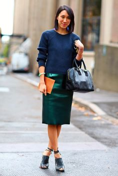 Street Style - metallic skirt #fashion #streetstyle #green #trend