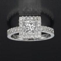 Holyland-2 CT PRINCESS REAL DIAMOND PROMISE RING 14K WHITE GOLD