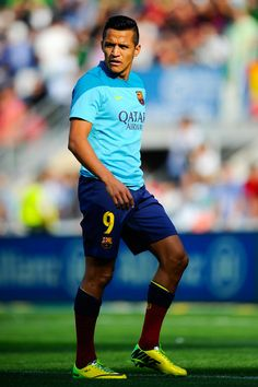 Alexis Sanchez of FC Barcelona looks on during the warm up prior to the La Liga match between Elche FC and FC Barcelona at Estadio Manuel Martinez Valero on May 11, 2014 in Elche, Spain.