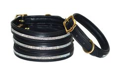 Handmade strong leather dog collar with swarovski door PearTannery