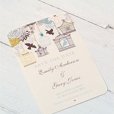 Birdcage And Blossom Save The Date Cards - wedding stationery