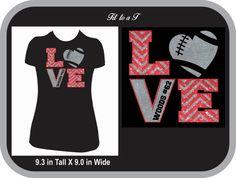 Personalized Glitter Love Football T-Shirt