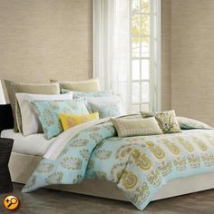 Made from 300 thread count cotton sateen, this duvet cover features a background of teal, inspired by the color of the sky over the Greek island of Paros. An overscaled paisley motif repeats across the bottom of the duvet. Blue Comforter Sets, Duvet Sets, Duvet Cover Sets, Echo Bedding, Gold Comforter, Twin Comforter, Paros, Bed Sets, Pottery Barn