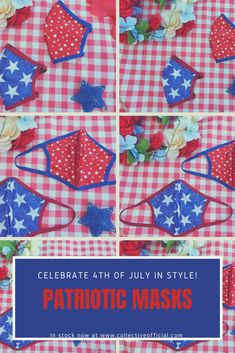 4th July Crafts, Fourth Of July Decor, 4th Of July Decorations, Patriotic Crafts, Female Mask, Diy Face Mask, Face Masks, Holidays And Events, Memorial Day