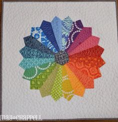 Elemental Color:  rainbow Dresden plate quilt by May Chappell