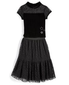 Nowadays Skai Star-Print Mesh Skirt Set, Big Girls (7-16) & Juniors (1-5) - Black Juniors Small