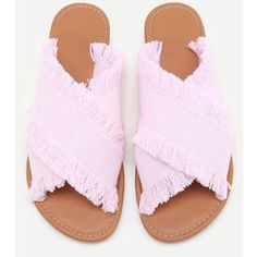 94a95a60bfb859 Raw Trim Cross Band Denim Flip Flops Pink Sandals