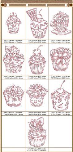 Redwork Cupcakes: 1 motif gratuit