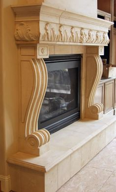 Naples Cast Stone Fireplace Mantels Surrounds with raised hearth from ArtisanKraftFireplaces. Sandstone Fireplace, Fireplace Mantel Surrounds, Marble Fireplace Surround, Stone Fireplace Mantel, Marble Fireplaces, Fireplace Design, Stone Fireplaces, Fireplace Remodel, Fireplace Makeovers