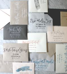 Learn a simple technique for making your writing look fancy. This post will teach you how to create fake calligraphy for stationery, lettering, art and Fake Calligraphy, Calligraphy Envelope, Envelope Art, Wedding Calligraphy, Calligraphy Writing, Calligraphy Tutorial, Envelope Design, Envelope Lettering, Address An Envelope