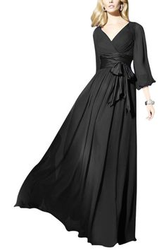 Elliot Claire Long Black Sleeved Evening Gown