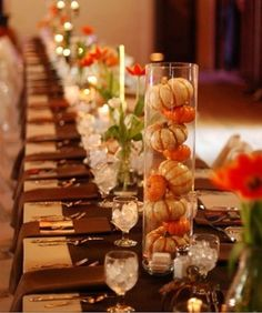 table decorations, fall table, thanksgiving table settings, pumpkin, wedding ideas, decorating ideas, thanksgiving centerpieces, fall weddings, long tables