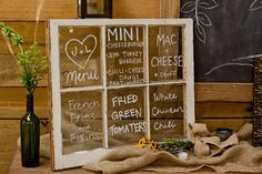 Window Pane Menu Display for a rustic wedding. #Rustic #Wedding