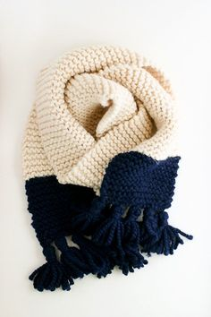 Tasseled Garter Stitch Color Block Scarf Pattern - A Quick Cozy Knit Gift - Flax & Twine