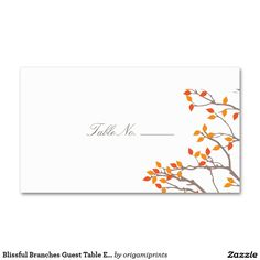 Blissful Branches Guest Table Escort Cards Double-Sided Standard Business Cards (Pack Of 100)