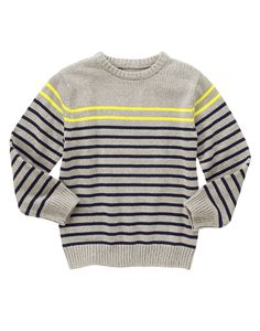 Striped Sweater at Gymboree (Gymboree Little Boy Outfits, Cute Outfits For Kids, Toddler Outfits, Knitting Designs, Knitting Patterns, Baby Boy Knitting, Sweater Patterns, Full Sleeves, Sweater Design