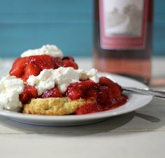 Pink Moscato Infused Strawberry Shortcake - A light refreshing dessert, made with homemade drop biscuits that have been topped in Pink Moscato infused strawberries and homemade whip cream.  #SundaySupper