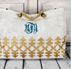 Monogrammed White and Gold Glamour Jute Tote by EllisEliteGifts on Etsy
