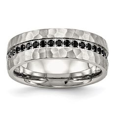 Men's Hammered Stainless Steel Black CZ Ring Jewelry Gemologica.com offers a unique selection of rings for men. We have cool and unique styles available in Sterling Silver, 10K, 14K and 18K yellow, rose and white gold, steel, tungsten and titanium. Accented with gemstones, birthstone and diamonds. Our complete jewelry collection of mens bands can be seen here: www.gemologica.com/mens-rings-c-28_46.html