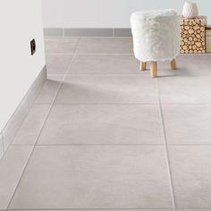 Carrelage sol et mur gris brume effet béton Leeds l.45 x L.45 cm 15.95€/m²