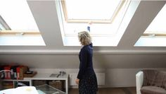 VELUX pine top hung windows are ideal for loft bedrooms that need a softer finish. They open 45° so you can enjoy the views and fresh air.
