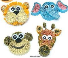 Safari Animal Magnets Quilling Kit Ripple and Roll four cute safari animals (lion, elephant, monkey, and giraffe) to decorate your locker, fridge and more! www.customquilling.com