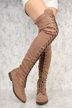 fd3e15a0fd5 Taupe Front Lace Up Round Toe Thigh High Flat Boots Faux Suede