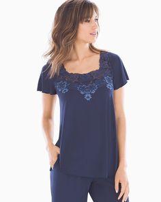 15377a238700 Soma Vintage Romance Short Sleeve Sleep Top Navy, Size: S, Navy