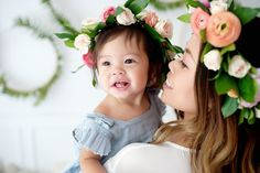 Mommy and me styled shoot mini session cute matching outfits with flower crowns and DIY wreath