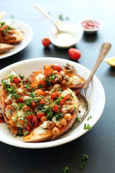 Mediterranean Baked Sweet Potatoes - 7 Easy Vegan Dinners to Make This Week - ChooseVeg.com