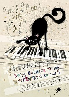 Cat Keyboard - by Jane Crowther for Bug Art greeting cards.