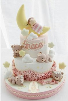 new ideas birthday cake cartoon baby shower Torta Baby Shower, Sweet Cakes, Cute Cakes, Fondant Cakes, Cupcake Cakes, Teddy Bear Cakes, Cakes Plus, Bolo Cake, Baby Girl Cakes