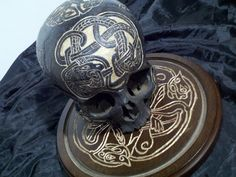 Celtic Carved 8X10 Glass Display and a Real Human Skull with carvings. by wwwRealHumanSkullcom