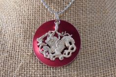 Dragon, Dragon Jewelry, Dragon necklace, Pure Silver, Aluminum Disk, Red Disk…