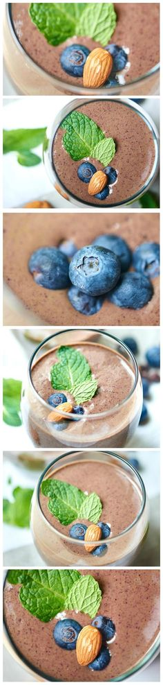Chocolate Berry Green Protein Smoothie - a healthy smoothie packed with frozen berries, almond milk, protein powder, and spinach!