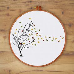 Autumn Tree cross stitch pattern Thin tree golden leaf