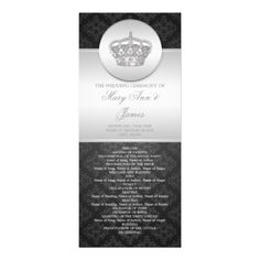 Elegant Wedding Program Royal Crown Black Personalized Invites
