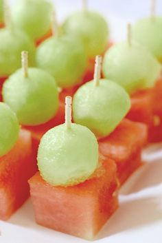 Mini Melon bites are easy appetizers to make for any party or shower!