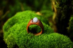 Moonstone wooden ring  Handcarved  Natural Jewelry  Healing