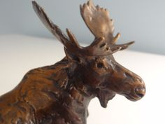 Bronze  Miniature Bull Moose Reclining by Forest Hart
