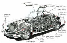"sketch of Mercedes Benz ""Gullwing"" Mercedes Benz 300, Mercedes Maybach, Cutaway, Motor Car, Auto Motor, Motor Sport, Classic Mercedes, My Dream Car, Super Cars"