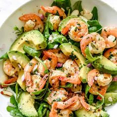 This simple, flavorful shrimp salad makes the perfect meal-prep meal for lunch or dinner thanks to pan-seared citrus shrimp, avocado, and sliced almonds. Shrimp Avocado Salad, Avocado Salad Recipes, Avocado Food, Avocado Cake, Seafood Salad, Quinoa Salad, Salad With Shrimp, Recipes With Avocado, Shrimp Salads