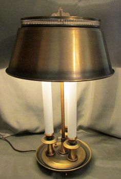 Vintage Brushed Brass 3 Candle Light Electric Bouillotte Table Lamp, Metal Shade