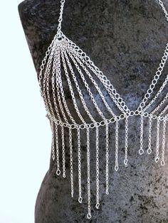 Sexy Halter Silver Body Chain Bra Clubwear от ElisabethInChains