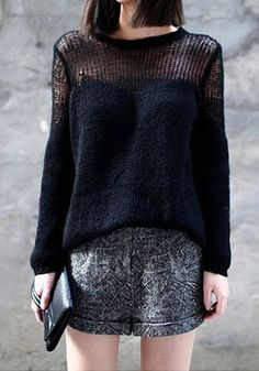 Open Weave Pullover - Black - Features Metallic Gold Threading