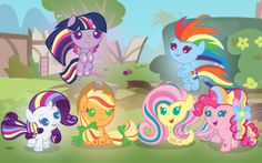 Rainbow Rocks MLP babies. I personally don't like the rainbow rocks XD