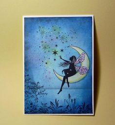 "blog.karten-kunst.de - Mein erster Versuch mit Lavinia Stamps, Lavinia Stamps ""Moon Fairy"" , "" Stars 1"", "" Fern Leaf"","