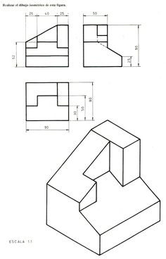 Archi Isometric Sketch, Autocad Isometric Drawing, Isometric Drawing Exercises, Drawing Practice, Drawing Skills, Orthographic Drawing, Orthographic Projection, 3d Drawing Techniques, Architecture Concept Drawings