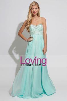 2014 Prom Dresses Sweetheart A Line Beaded Bodice Pick Up Shirred Chiffon Skirt